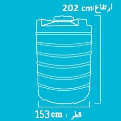 ابعاد منبع پلاستیکی عمودی 3000 لیتری